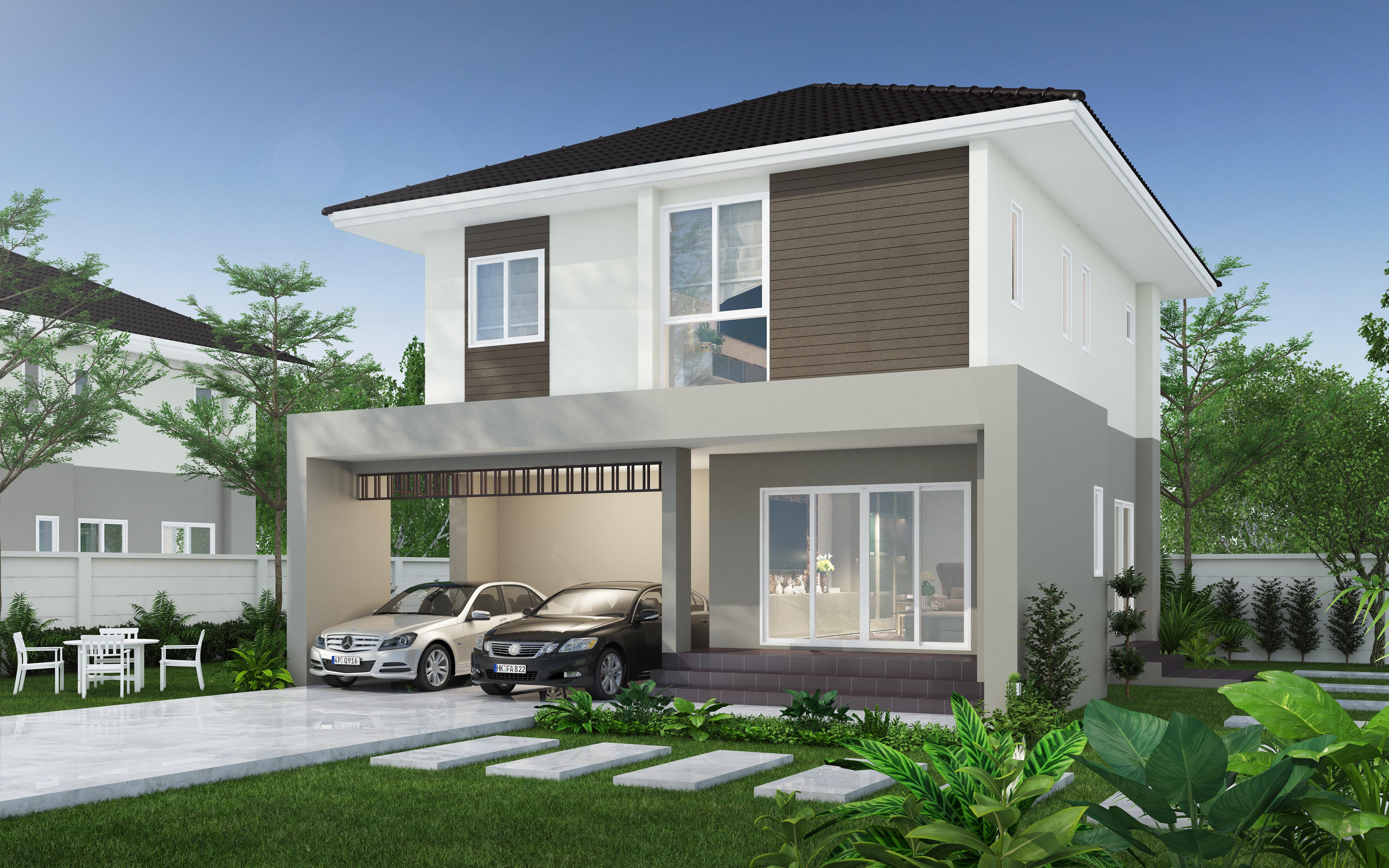 รับทำ 3D บ้าน2 ชั้น โครงการหมู่บ้าน
